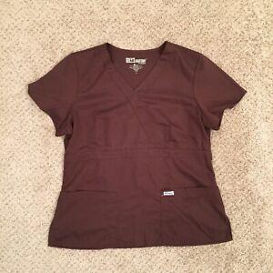 Grey's Anatomy Womens Large Brown Mock Wrap Scrub Top