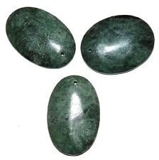 P2156 Dark Green Marble 42mm Flat Puff Oval Gemstone Pendant Bead 1pc
