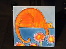 "Ceramic Tile Orange Cat 4x4"" Multi-Color Art Hand Painted Wall Decor"