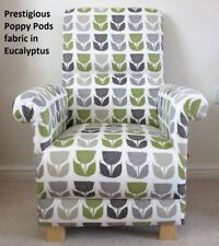 Prestigious Poppy Pods Fabric Adult Chair Retro Flowers Armchair Green Grey Kiwi