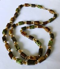 """VINTAGE NECKLACE RETRO MULTI COLOURED GREEN, MUSTARD, BROWN LOVELY CONDITION 24"""""""