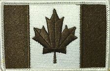 CANADA Flag Patch With VELCRO® Brand Fastener Brown & White  White Border #08