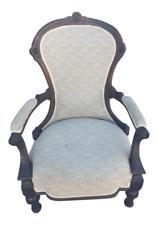 Antique Walnut Ladies Open Arm Chair English Fabric