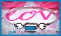 ❤️VTG 925 Sterling Silver Taxco MEXICO TL-37 Bracelet Turquoise Hook Bangle❤️