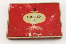 """Vintagte CRAVEN """"A"""" Virginia Cigarettes Cork Tipped English Tin Case"""