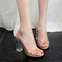 Womens Summer Slingback Clear Transparent High Block Heel Sandals shoes Peep Toe
