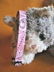 Cat Collar Handmade, Soft Pink Bandanna Print Cotton...Soft Pink Kitty...