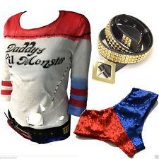 Harley Quinn T-shirt+ BELT+ Sequins Underwear Shorts Pants Suicide Squad Costume
