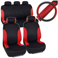 Black/Red Car Seat Covers for Auto Steering Wheel/5 Headrests/Bench Cover Full