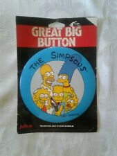 "Older 1990s The Simpsons Giant Pinback 6"" super item on card"