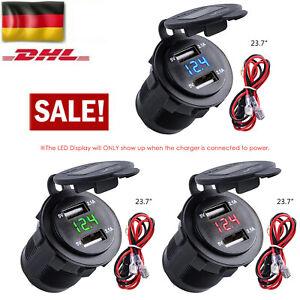 Auto Steckdose Dual USB Ladegerät Buchse 12V/24V KFZ Einbau Zigarettenanzünder