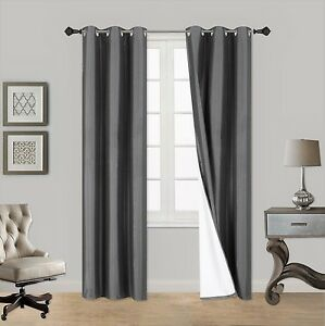 2PC CHARCOAL  ADAM Foam Lined Heavy Thick Blackout Grommet Window Curtain Panels