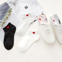 Women's Fashion Red Hearts Cotton Short Socks Soft Breathable Summer Ankle Socks