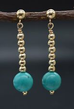 In my oldNine14K Solid Gold Natural Turquoise & Gold Beads Dangle Drop Earrings