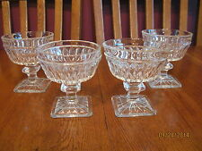 4 Clear Glass Vintage Footed Sherbert Ice Cream Dishes ~Indiana Glass Mt. Vernon