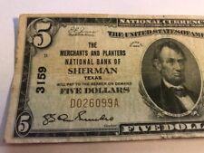1929 $5 Merchants Planters National Bank  SHERMAN TX Texas Ch. 3159 Type 1