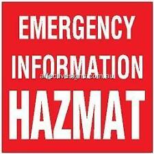 Emergency HAZMAT Info Sign Safety Signs Australian Made Quality Printed Sign