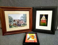 Coca-Cola Framed Art / Advertisements Vintage Reproductions Lot of 3