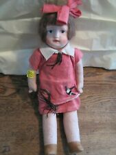 "ANTIQUE Girl 15"" Doll Lenci Style PAPER MACHE PAINTED FACE W/FELT Sawdust BODY"