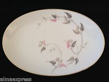 """Noritake China Arden 5603 Pink Flowers Gray Leaves 14"""" OVAL SERVING PLATTER"""
