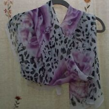 Oblong Scarf in Animal Print with Roses in Cream, Black, & Purple