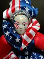 July 4th Sugar Loaf Creations Patriotic Jester Clown Doll USA - flag heart face