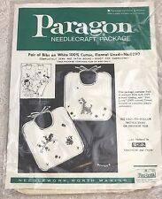 Vtg Paragon 0290 Baby Bibs Pair Set of 2 Stamped for Embroidery Kitty Bird New