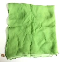 """Vintage Silk Scarf Green Made in Italy Sexy Sheer 19"""" x 20"""" MOD Pure Sheer"""