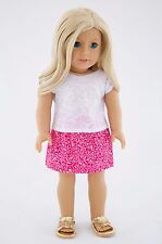 White Tee and Pink Skirt American Made Doll Clothes For 18 inch Girl Dolls