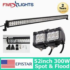 52INCH 300W LED WORK LIGHTS BAR SPOT FLOOD COMBO DRIVING OFFROAD BAR 4WD ATV 18W