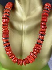 Coral Sterling Silver Statement Necklace