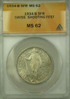 1934-B Switzerland Shooting Festival Silver 5 Francs Coin ANACS MS 62 Proof Like