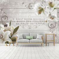 Vlies Fototapete 3D weiß Blumen Holz Lilien Schlafzimmer Tapete XXL Wandtapete 2
