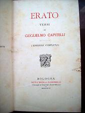1892 'ERATO' POESIE DI GUGLIELMO CAPITELLI PATRIOTA NAPOLETANO. DEDICA AUTOGRAFA