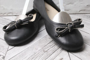 FONNESBERG Court Pumps Flats Loafers Black Leather Bow Low High Heels RRP £99 37