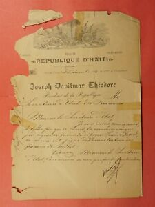 1914 HAITI PRESIDENT THEODORE SIGNED LETTER TO SECRETARY OF STATE OF FRANCE