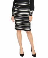 Rachel Roy Womens Stretch Knit Skirt Black Size Medium M Shimmer Stripe $89 254