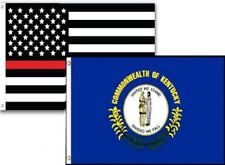 3x5 Usa Thin Red Line Kentucky State 2 Pack Flag Wholesale Set Combo 3'x5'