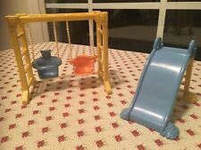 Fisher-Price Dollhouse DOLL SWING SET & SLIDE Outdoor Furniture Backyard FUN