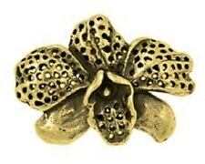 DH65bG - 24k Gold over .925 Sterling (Vermeil) BEAUTIFUL Orchid Charm Pendant