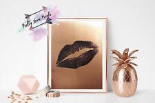 Rose gold kiss art print wall decor for home sexy Love gift metalic shine