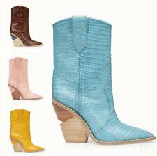 Europe Ladies Pointy Toe mid calf boots Wedge Mid Heel Fashion Pull On Clubwear