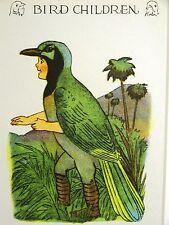 M.T. Moss BIRD CHILDREN GREEN JAY from the RIO GRANDE 1939 Lithograph Art Matted