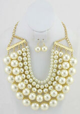 5 Layer Cream Pearl Gold Toned Necklace With Matching Dangling Earrings