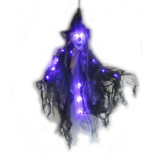 Evil Skull Witch Lighted LED Scary Halloween Party Decoration Prop 36""