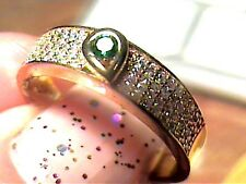 STERLING SILVER 925 RNG 8 YELLOW GOLD TSAVORITE SAPPHIRE DELICATE BAND ELEGANT