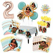 Moana Party Supplies 16 Guest Kit and 2nd Birthday Balloon Bouquet Decorations
