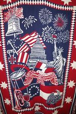 GOODWIN WEAVERS USA FLAG CAPITOL 100% COTTON 48x68 THROW BLANKET FRINGES