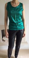 YVES SAINT LAURENT YSL TOM FORD GREEN SLEEVELESS TANK TOP VEST SILK S UK 8 LOGO