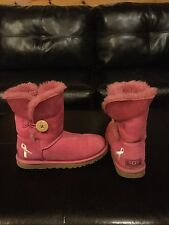 Women's UGG Australia Pink Ribbon Bailey Button Boots.  Size 5 Girls/ 6 Women's